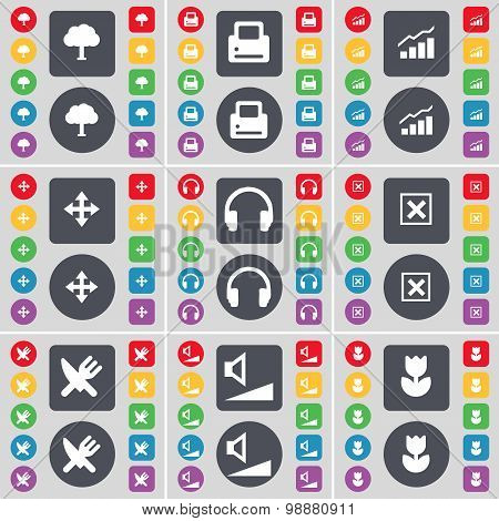Tree, Printer, Graph, Moving, Headphones, Stop, Fork And Knife, Volume, Flower Icon Symbol. A Large