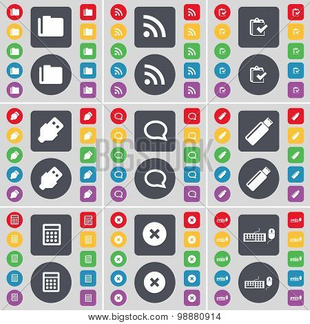 Folder, Rss, Survey, Usb, Chat Bubble, Usb, Calculator, Stop, Keyboard Icon Symbol. A Large Set Of F