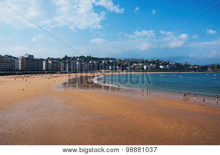 Beach in popular touristic city San Sebastian, Spain