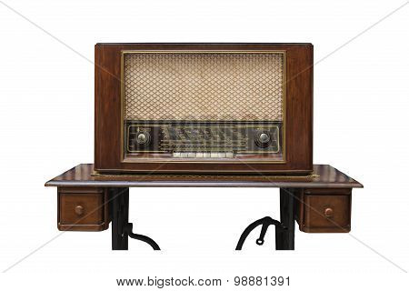The Classic Wooden Radio On The Table Made From Sawing Machine