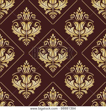 Golden Damask Seamless Vector Pattern