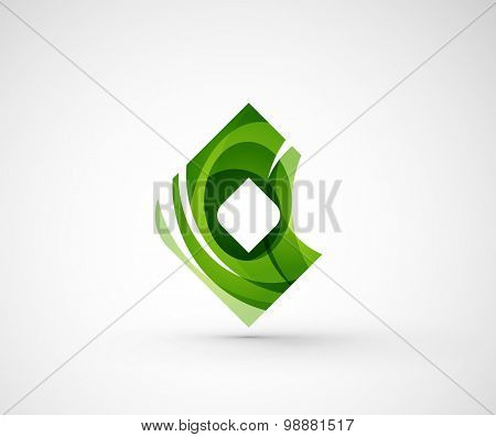 Abstract geometric company logo square, rhomb.  illustration of universal shape concept made of various wave overlapping elements