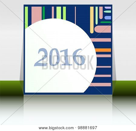 Abstract New Year 2016 Card. Multicolor Holiday Greeting Card. Creative Flat Design, Concept For Ban