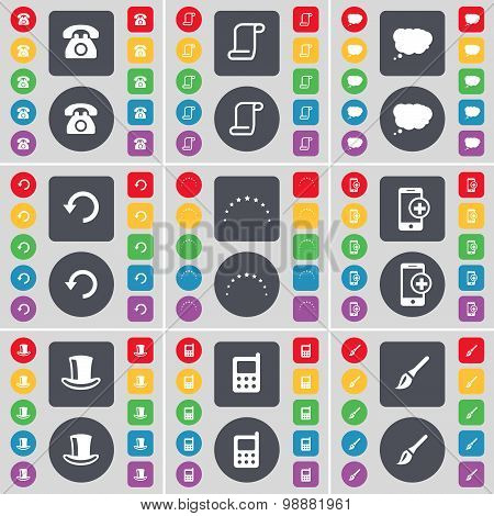 Retro Phone, Scroll, Chat Cloud, Reload, Stars, Smartphone, Silk Hat, Mobile Phone, Brush Icon Symbo