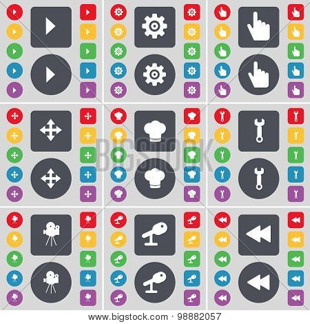 Media Play, Gear, Hand, Moving, Cooking Hat, Wrench, Film Camera, Microphone, Rewind Icon Symbol. A