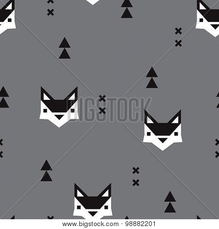 Seamless geometric fox kids fall illustration aztec arrows cute background pattern in vector in black and white