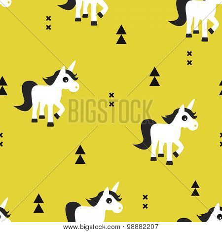 Seamless kids mustard yellow geometric unicorn magical fantasy animals and triangle aztec details illustration background pattern in vector