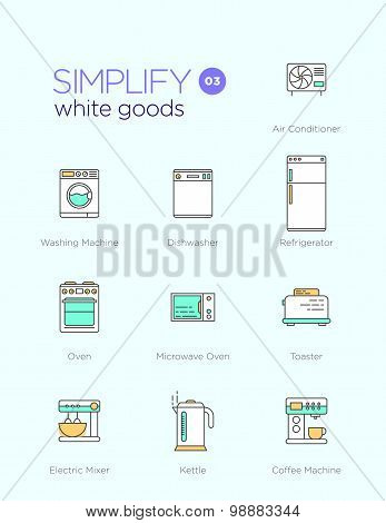 Line icons with flat design elements of white goods