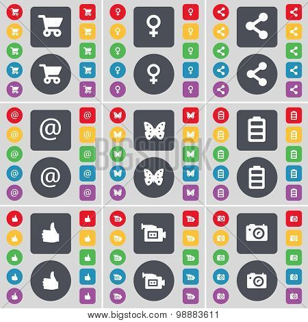 Shopping Cart, Venus Symbol, Share, Mail, Butterfly, Battery, Like, Film Camera, Camera Icon Symbol.