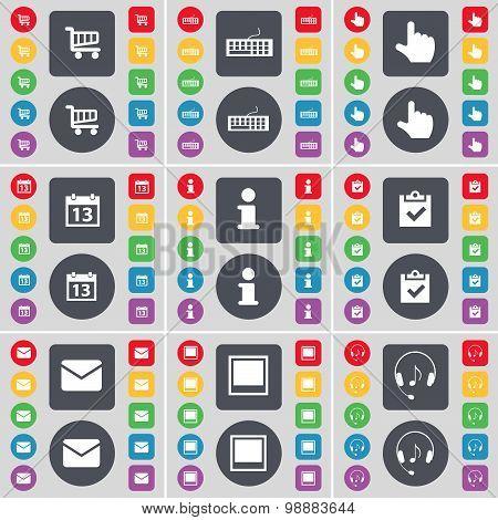 Shopping Cart, Keyboard, Hand, Calendar, Information, Survey, Message, Window, Headphones Icon Symbo