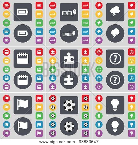 Battery, Keyboard, Lightning, Calendar, Puzzle, Question Mark, Flag, Ball, Light Bulb Icon Symbol. A