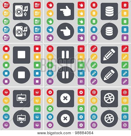 Speaker, Hand, Database, Media Stop, Pause, Pencil, Graph, Stop, Ball Icon Symbol. A Large Set Of Fl