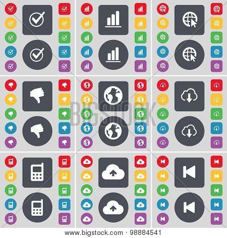 Tick, Diagram, Web Cursor, Dislike, Earth, Cloud, Mobile Phone, Cloud, Media Skip Icon Symbol. A Lar