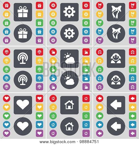 Gift, Gear, Bow, Wi-fi, Cloud, Avatar, Heart, House, Arrow Left Icon Symbol. A Large Set Of Flat, Co
