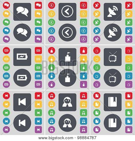 Chat, Arrow Left, Satellite Dish, Charging, Flag Tower, Retro Tv, Media Skip, Avatar, Dictionary Ico