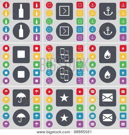Bottle, Arrow Right, Anchor, Media Skip, Connetion, Fire, Umbrella, Star, Message Icon Symbol. A Lar