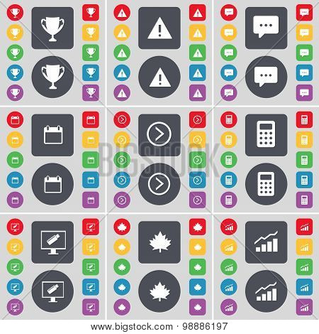 Cup, Warning, Chat Bubble, Calendar, Arrow Right, Calculator, Monitor, Maple Leaf, Graph Icon Symbol