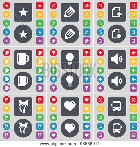 Star, Pencil, File, Cup, Light Bulb, Sound, Bow, Heart, Bus Icon Symbol. A Large Set Of Flat, Colore