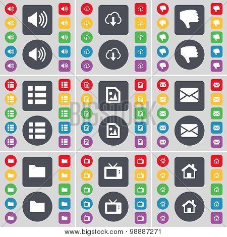 Sound, Cloud, Dislike, List, Media File, Message, Folder, Retro Tv, House Icon Symbol. A Large Set O