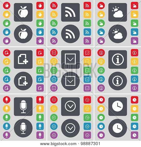 Apple, Rss, Cloud, File, Arrow Down, Information, Microphone, Clock Icon Symbol. A Large Set Of Flat