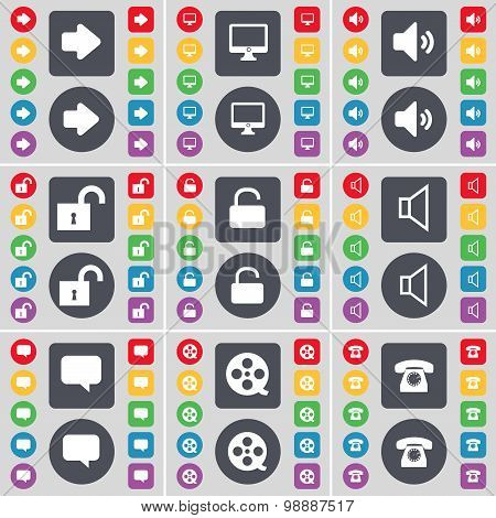 Arrow Right, Monitor, Sound, Lock, Sound, Chat Bubble, Videotape, Retro Phone Icon Symbol. A Large S