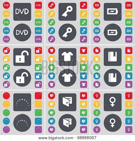 Dvd, Key, Charging, Lock, T-shirt, Dictionary, Star, Wallet, Venus Symbol Icon Symbol. A Large Set O