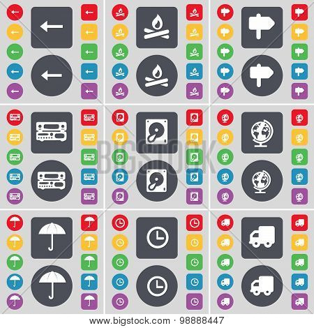 Arrow Left, Campfire, Sighpost, Record-player, Hard Drive, Globe, Umbrella, Clock, Truck Icon Symbol