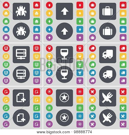 Bug, Arrow Up, Suitcase, Server, Wineglass, Truck, File, Star, Fork And Knife Icon Symbol. A Large S