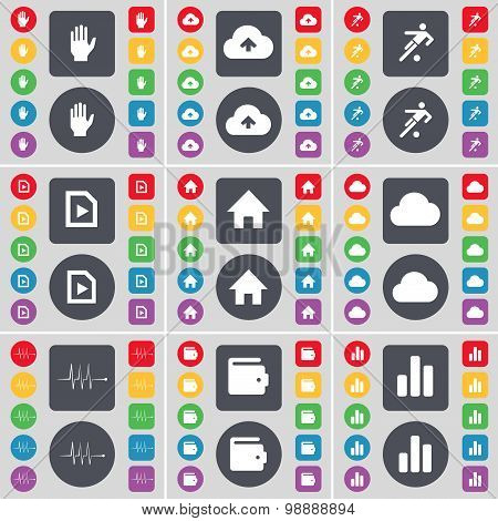 Hand, Cloud, Football, File, House, Cloud, Pulse, Wallet, Diagram Icon Symbol. A Large Set Of Flat,