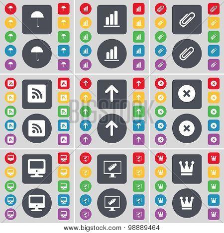 Umbrella, Diagram, Clip, Rss, Arrow Up, Stop, Monitor, Crown Icon Symbol. A Large Set Of Flat, Color