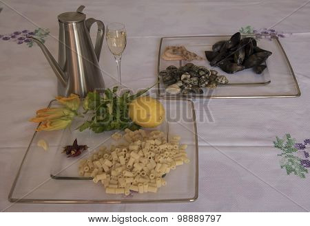 Tubettoni With Seafood. Ingredients.