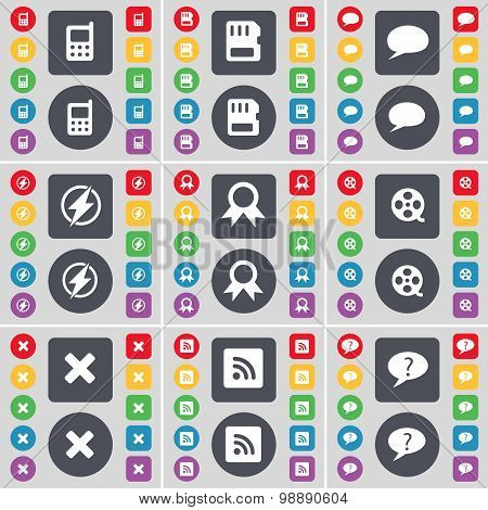 Mobile Phone, Sim Card, Chat Bubble, Flash, Medal, Videotape, Stop, Rss, Chat Bubble Icon Symbol. A