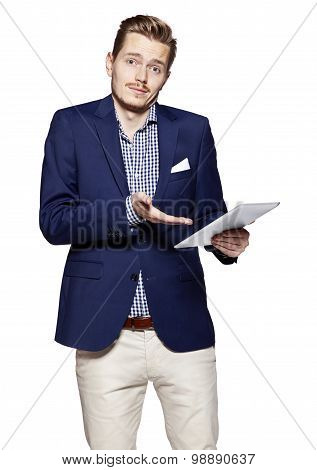 Young Businessman And A Digital Tablet