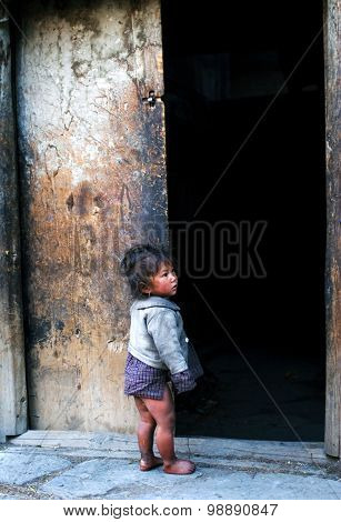 Little Girl From The Village Of Tibetan Refugees