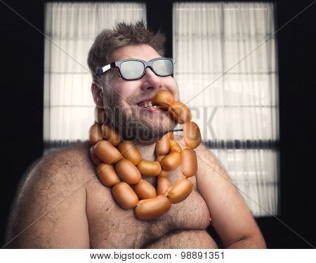 Man with sausages on his neck