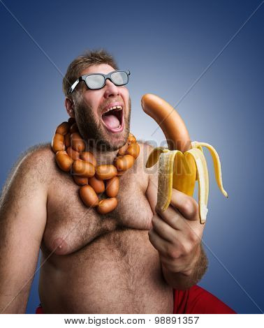 Strange man with sausages