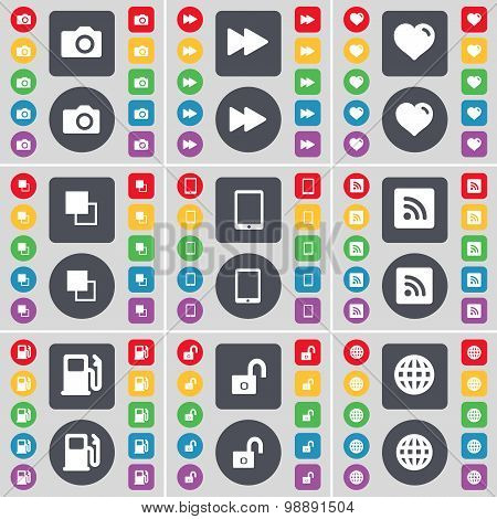 Camera, Rewind, Heart, Copy, Tablet Pc, Rss, Gas Station, Globe Icon Symbol. A Large Set Of Flat, Co