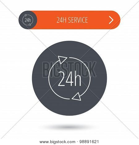 Twenty four hours icon. Customer service sign.