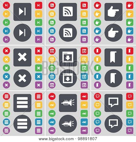 Media Skip, Rss, Hand, Stop, Window, Marker, Apps, Trumped, Chat Bubble Icon Symbol. A Large Set Of