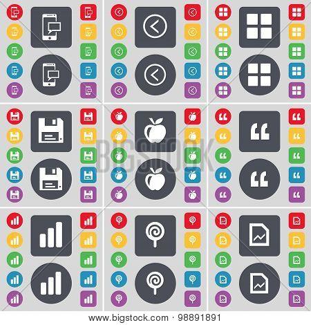 Sms, Arrow Left, Apps, Floppy, Apple, Quotation Mark, Diagram, Lollipop, Graph File Icon Symbol. A L