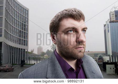 Businessman in the corridor
