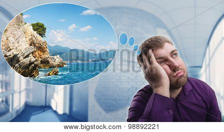 Sad man dreaming about vacation