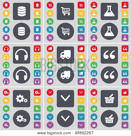 Database, Shopping Card, Flask, Headphones, Truck, Quotation Mark, Gear, Arrow Down, Basket Icon Sym