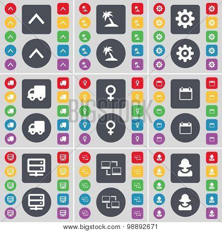 Arrow Up, Palm, Gear, Truck, Venus Symbol, Calendar, Server, Connection, Avatar Icon Symbol. A Large