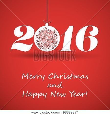 Merry Christmas and Happy New Year Greeting Card, Creative Design Template - 2016