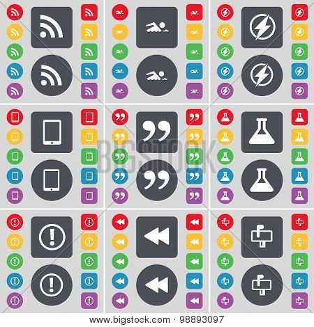 Rss, Swimmer, Flash, Tablet Pc, Quotation Mark, Flask, Exclamation Mark, Rewind, Mailbox Icon Symbol
