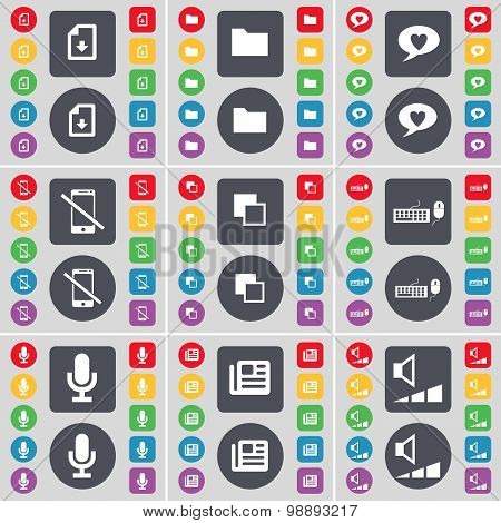 Download File, Folder, Chat Bubble, Smartphone, Copy, Keyboard, Microphone, Newspaper, Volume Icon S