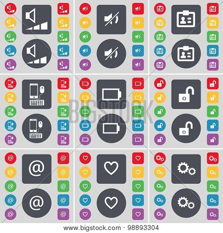 Volume, Mute, Contact, Smartphone, Battery, Lock, Mail, Heart, Gear Icon Symbol. A Large Set Of Flat