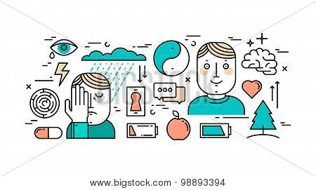Thin Line Flat Design Concept Of Mental Health, Depression And Anti-depression