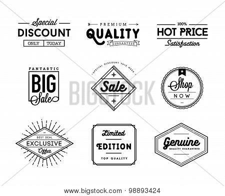 Set Of Vintage Sale And Commerce Badges